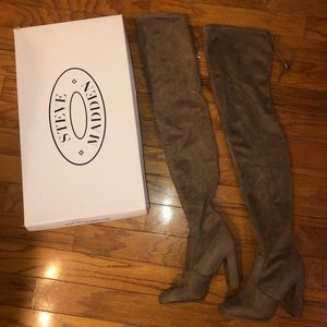 Steve Madden taupe suede over the knee boot